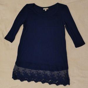 Gianna Bini Navy Blue Shirt with Lace Hem
